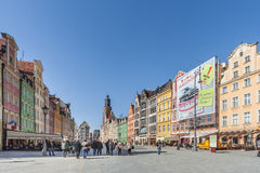 Wroclaw, Pologne - vers en mars 2012 : Place du marché central à Wroclaw, Pologne Images stock
