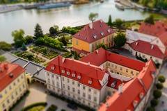 Wroclaw, Pologne Vue à l'île de Tumski et la rivière Odra et la curie de la métropolitaine de Wroclaw photos libres de droits