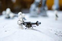 Wroclaw, POLONIA - 25 de enero de 2014: Batalla de Star Wars de Hoth, hecha por los bloques de Lego Imagen de archivo libre de regalías