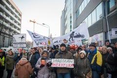 Wroclaw, POLONIA - 22 de enero de 2017: Demostración organizada por K Imagenes de archivo
