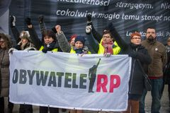 Wroclaw, POLONIA - 22 gennaio 2017: Dimostrazione organizzata da K Immagine Stock