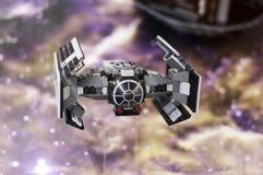 Wroclaw, POLONIA - 25 gennaio 2014: Il LEGAME di Star Wars ha avanzato, fatto dai blocchetti di Lego Fotografie Stock