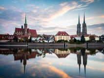 Wroclaw, Polonia 22 ottobre 2016 Vista panoramica dei tum di Ostrow immagine stock libera da diritti