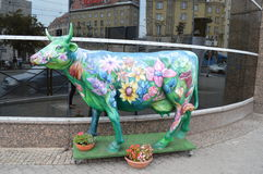 Wroclaw Polsha Vache en fleurs Photo libre de droits