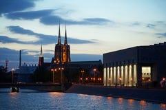 Wroclaw por noche imágenes de archivo libres de regalías