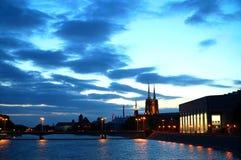 Wroclaw por noche fotos de archivo