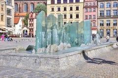 wroclaw Schöner Brunnen im Marktplatz Stockfotografie