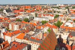 wroclaw Stadspanorama, Weergeven van het oudste deel van de stad stock afbeeldingen