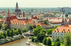 wroclaw Stadspanorama, Weergeven van het oudste deel van de stad stock foto