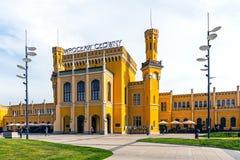 Wroclaw strömförsörjningsjärnvägsstation Arkivbilder