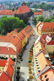 Wroclaw street. Aerial view on Wroclaw street. Poland Royalty Free Stock Photo