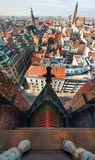 Wroclaw top view. From church Marii Magdaleny Royalty Free Stock Photo