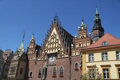 Wroclaw Town Hall in Wroclaw, Poland. A picture of Wroclaw town hall in Wroclaw, Poland on a clear summer day with a view of the exterior façade of the royalty free stock photography