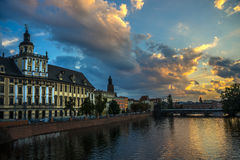 Wroclaw University against beautiful sky Royalty Free Stock Images