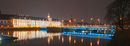 Wroclaw University Building By Oder River At Dusk, Wroclaw, Pola Stock Images