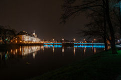 Wroclaw University Building By Oder River At Dusk, Wroclaw, Pola Royalty Free Stock Images