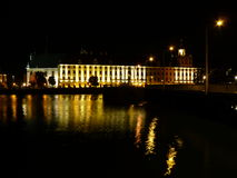 Wroclaw University Building By Oder River At Night, Wroclaw Stock Image