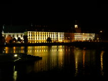 Wroclaw University Building By Oder River At Night, Wroclaw Royalty Free Stock Photography