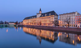 Wroclaw university, view from river Odra, in the evening. Poland Royalty Free Stock Image