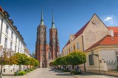 Wroclawkathedraal van St John het Doopsgezinde, Kathedraaleiland, Ostrow Tumski, Polen stock afbeelding
