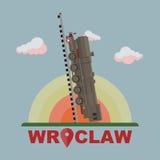 Wroclawtrein aan hemel Royalty-vrije Stock Foto's