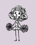 Wrong american dream. Hand drawn vectors illustration or drawing of a skeleton cheerleader that represent the dead of an american way of life that some consider Royalty Free Stock Photos
