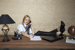 Wrong approach to work. Business woman royalty free stock image