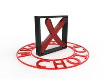 Wrong choice red black square 3d white background Royalty Free Stock Photo
