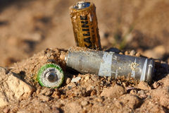 Wrong disposal of batteries. Royalty Free Stock Photography