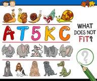 Wrong element task for kids. Cartoon Illustration of Finding Wrong Item in the Row Educational Task for Preschool Children stock illustration