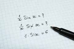 Wrong and funny solution of the problem in mathematics stock photography
