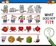 Wrong picture task for kids. Cartoon Illustration of Finding Wrong Item in the Row Educational Task for Preschool Kids royalty free illustration