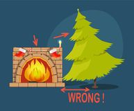 Wrong Christmas Tree Fireplace Vector Illustration. Wrong Poster with Christmas tree and fireplace with socks, shown distance between two objects, vector Royalty Free Stock Photos