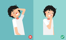 Wrong and right for first aid for nasal bleeding Stock Photo