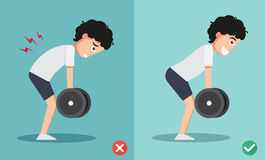Wrong and right lifting weight posture Royalty Free Stock Photos