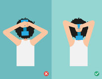 Wrong and right lifting weight posture,vector Stock Photo