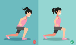 Wrong and right lunges posture,vector Royalty Free Stock Photo