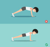 Wrong and right plank posture,vector Royalty Free Stock Images