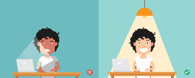 Wrong and right for proper lighting in the room illustration Royalty Free Stock Photos