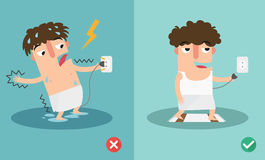 Wrong and right for safety electric shock risk. Vector illustration Royalty Free Stock Photos