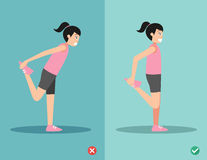 Wrong and right stretching front of thigh posture,vector Royalty Free Stock Image