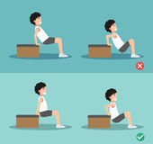Wrong and right tricep dip posture,vector Royalty Free Stock Images