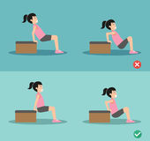 Wrong and right tricep dip posture,vector Royalty Free Stock Photo