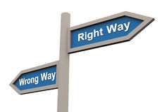 Wrong and right way Stock Images