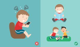 Wrong and right way for kids stop using smartphone Stock Photos