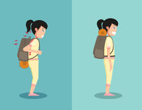 Wrong and right ways for backpack standing Stock Photography
