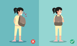 Wrong and right ways for backpack standing Stock Photos