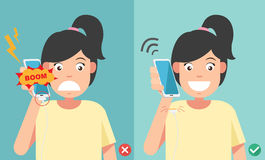 Wrong and right ways.Do not phone call in charging battery. Vector illustration Royalty Free Stock Image
