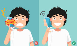 Wrong and right ways.Do not phone call in charging battery. Vector illustration Stock Photography