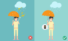 Wrong and right ways.Do not phone call while raining Stock Images